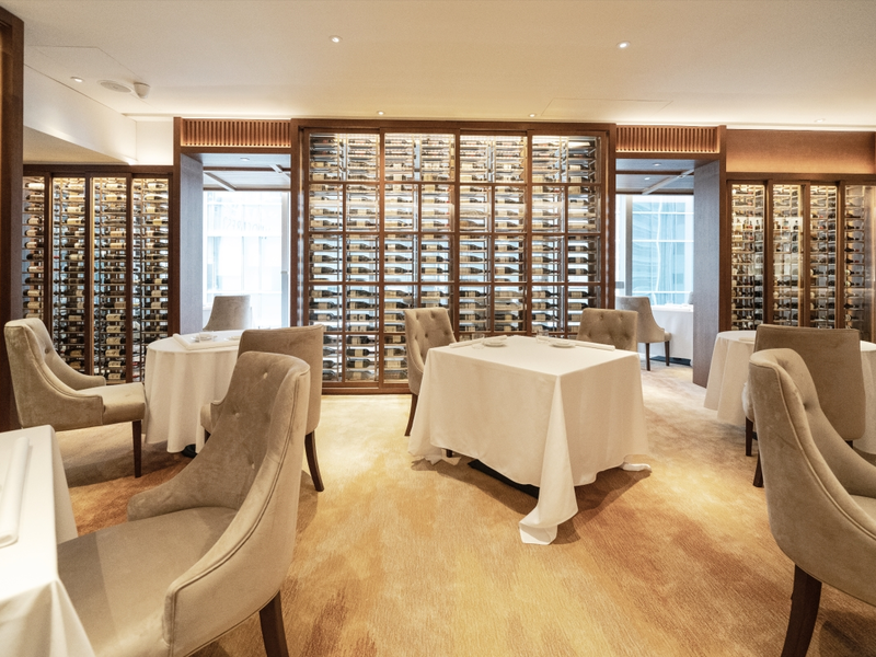 a refined interior in classic European-style dining