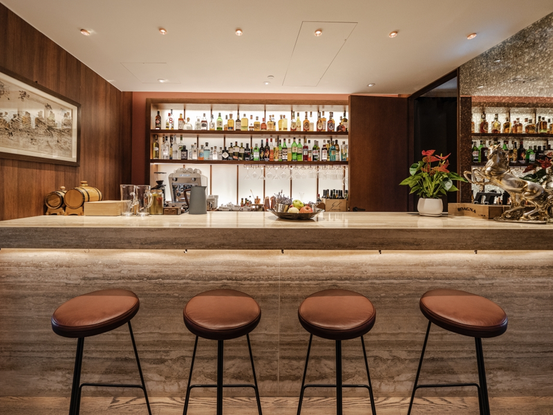 sleek marble bar serves a collection of unique cocktail recipes from Piedmont