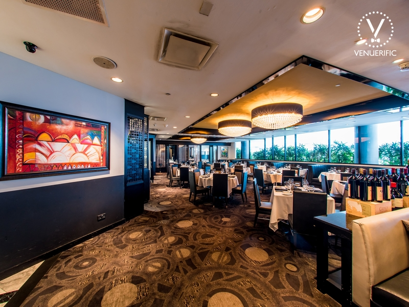 exclusive dining restaurant with high ceiling