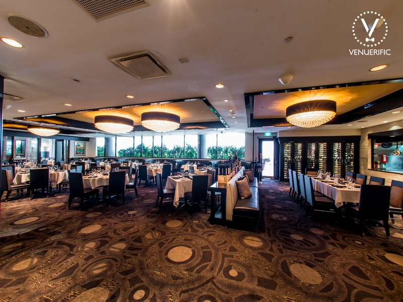 dining restaurant with round lamp ceiling