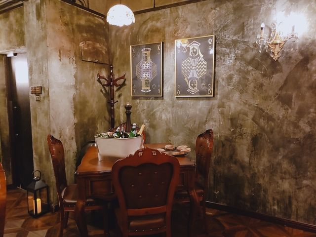 small dining table setup in rustic room