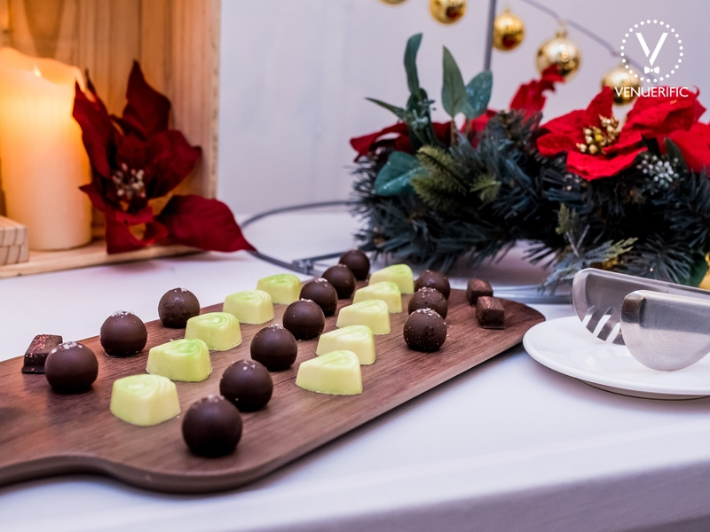 dark and white chocolate served as dessert in a christmas event
