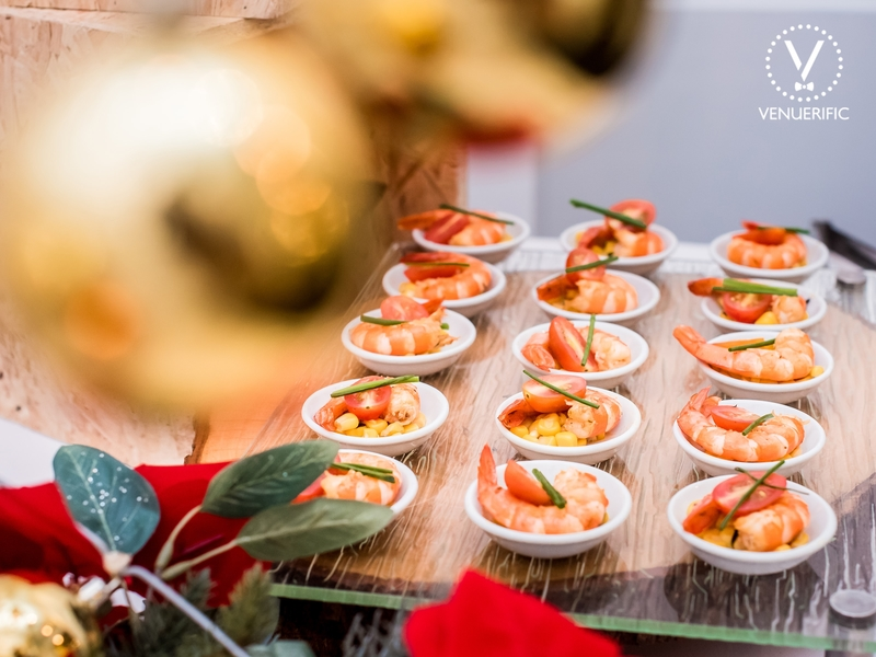 prawn as appetizer served in small white plate