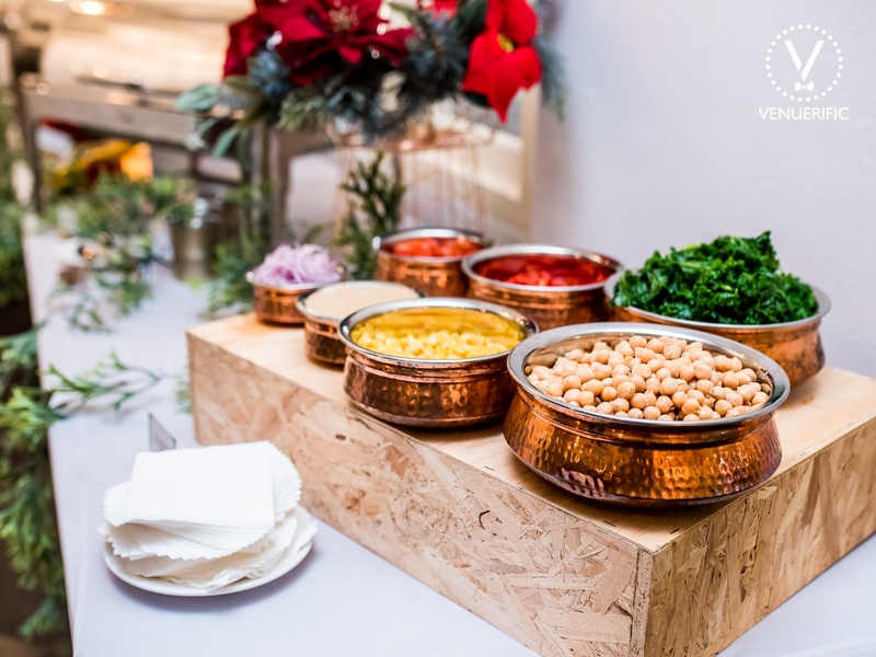 dish appetizer served in bowls with decorated christmas on the table