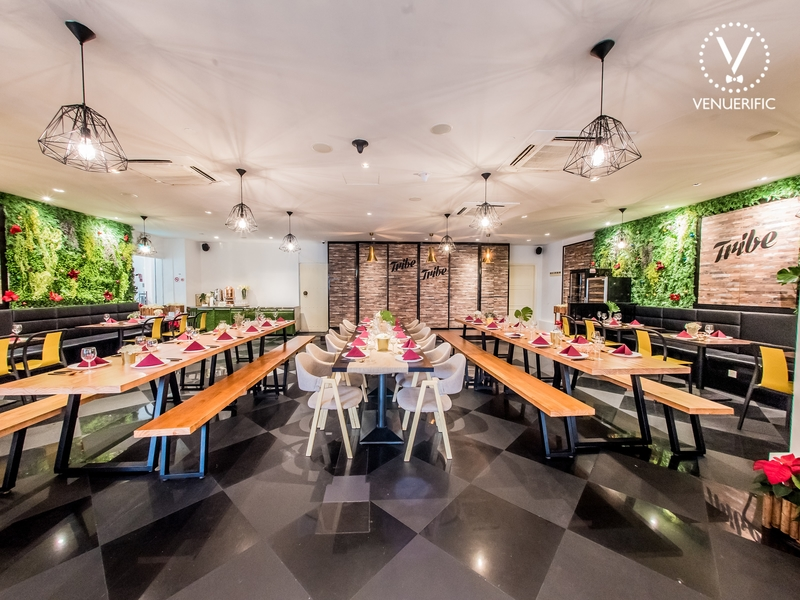 dining room of singapore restaurant with black floors