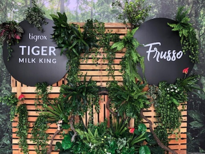 tiger milk king frusso photo booth backdrop with wood and plant