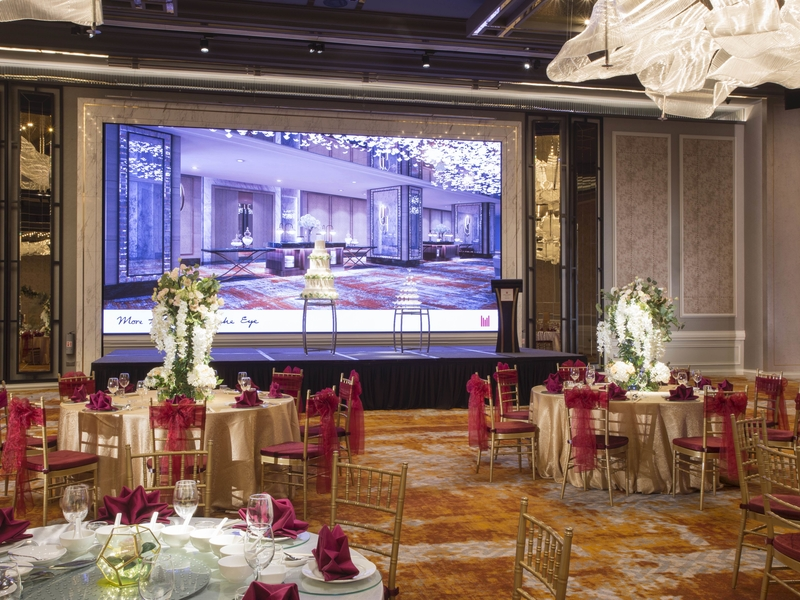 wedding party decoration for the stage and round table