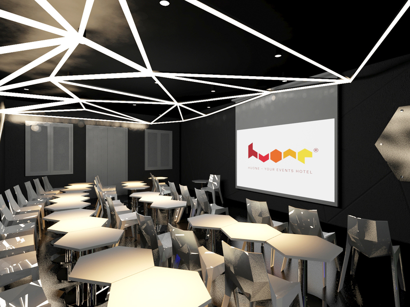 meeting room with 40 capacity include screen projector and minimalist design