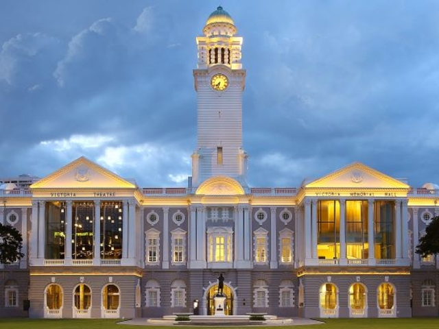 the front of a neoclassical-style concert hall in singapore