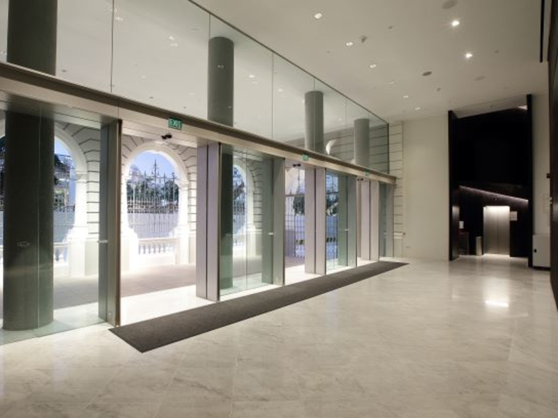 entrance lobby of the theatre venue with automatic glass doors