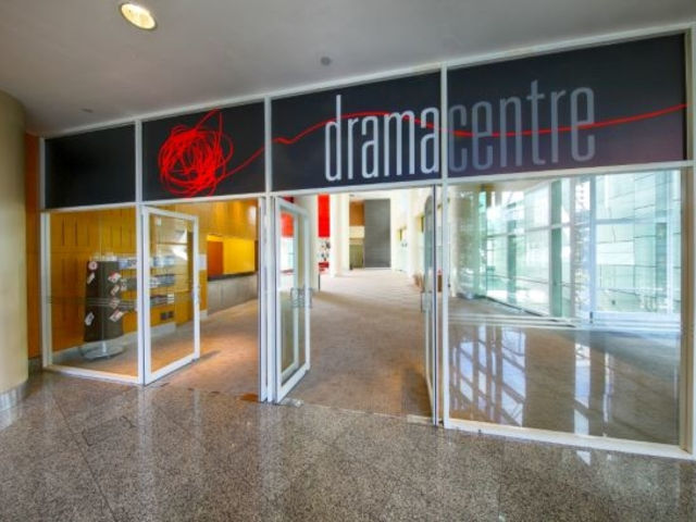 the door to the lobby of drama centre