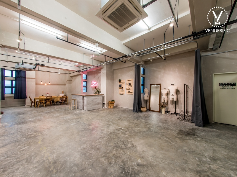 industrial style event space at geylang