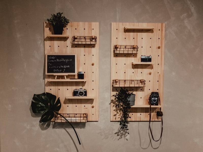 wooden wall decor with plant and camera ornament
