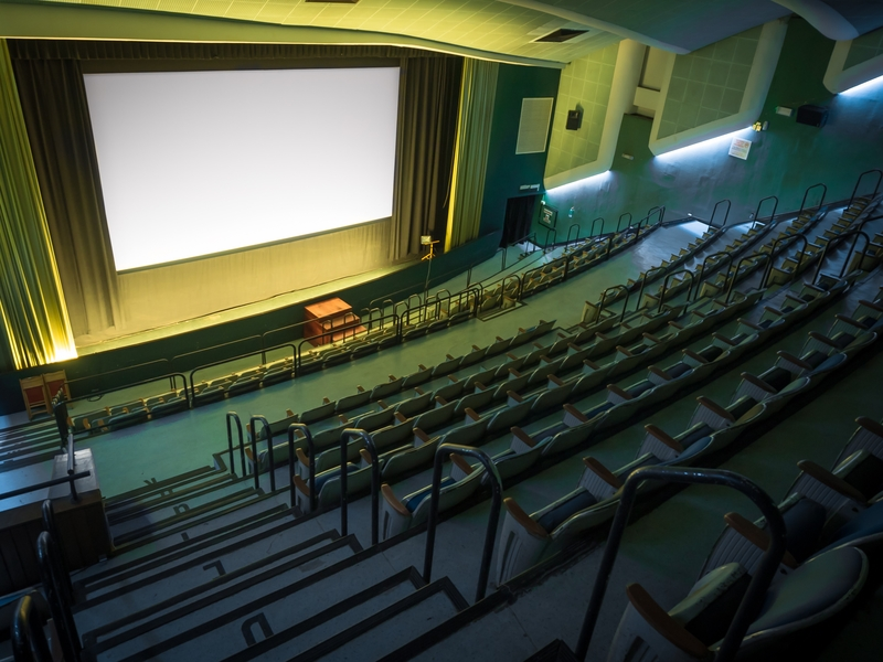 movie theatre with a giant screen