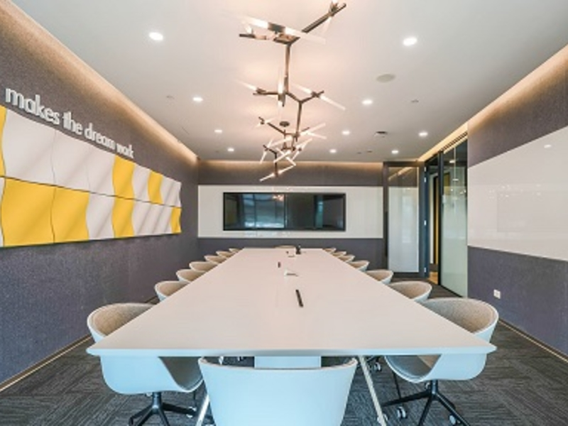 big office conference room with white table set