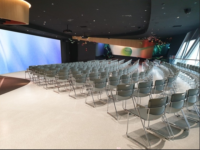 product launching set up with stage with big screen for 400 capacity