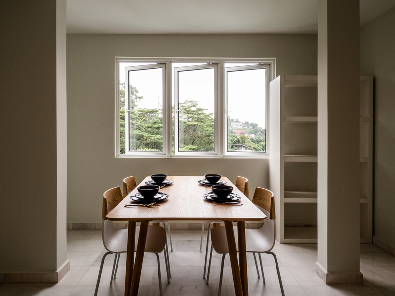 private dining room area with 3 windows