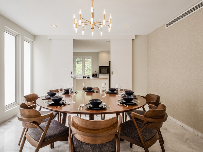 private dining room with chandelier