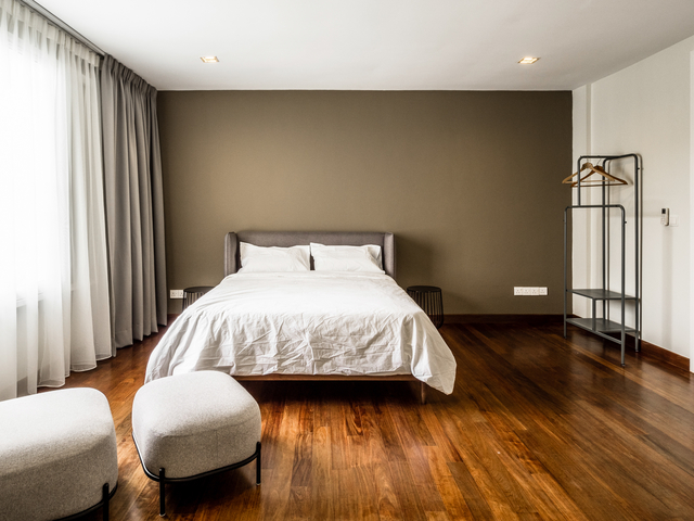 minimalist bedroom with clothes hanger