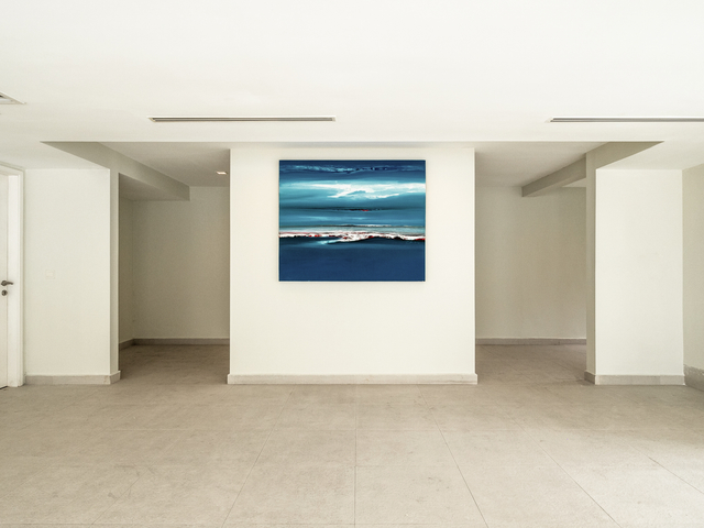 hall space with blue painting on the wall
