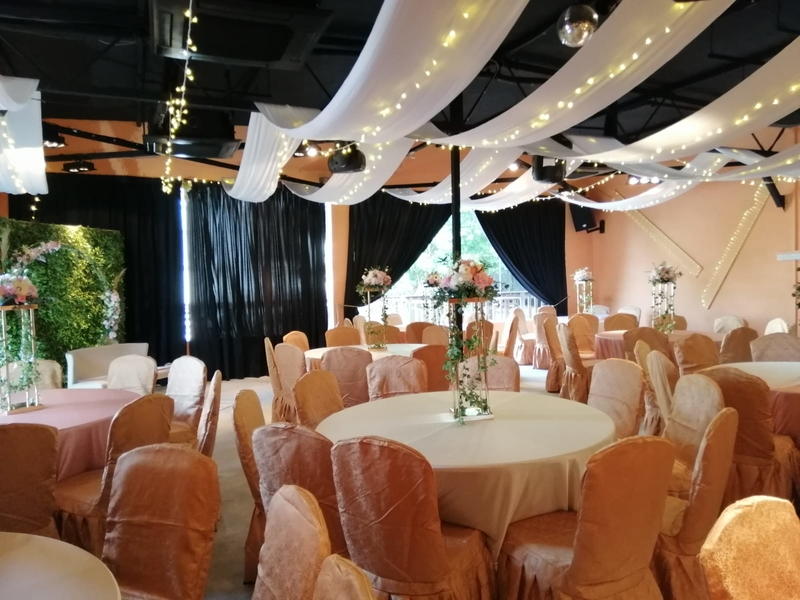 wedding party decoration with pink colour and lighting