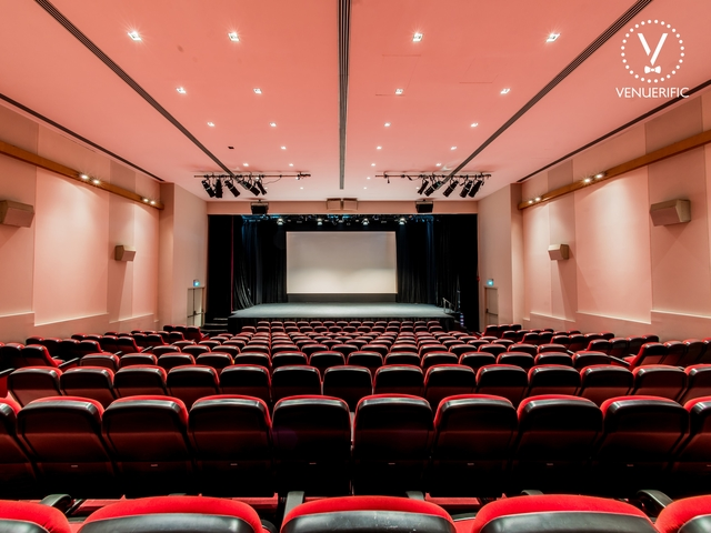 look to the stage of the auditorium of alliance francaise de singapour