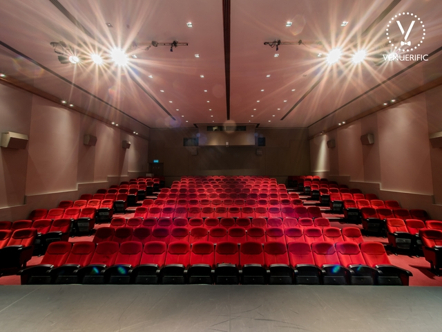 236 seat auditorium professionally equipped with sound, lighting, and cinema system