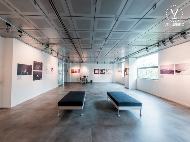 art painting exhibition inside la galerie with natural lighting from the window