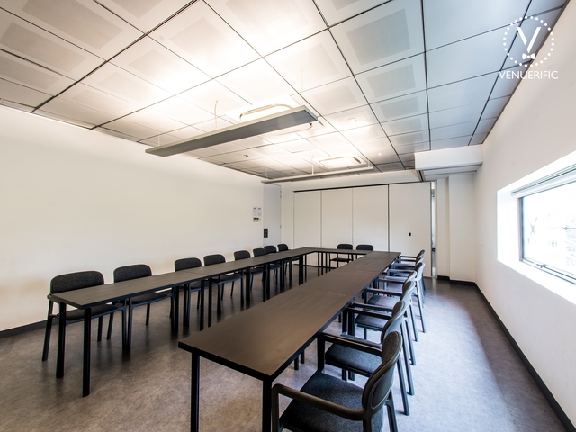 meeting room with board room style setup