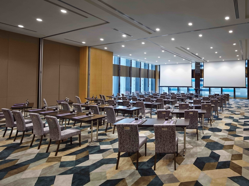patterned floors and projector screens in singapore function hall