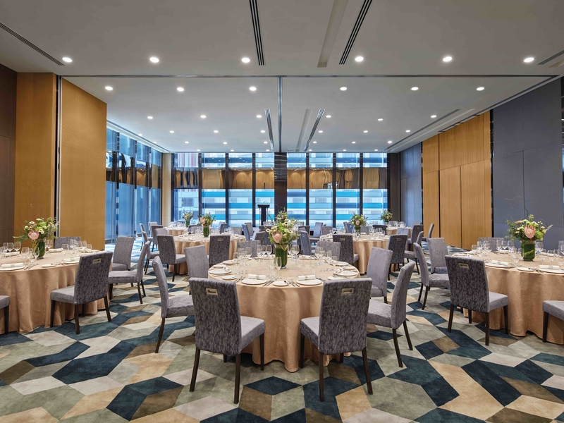 singapore event room with patterned floors and large windows
