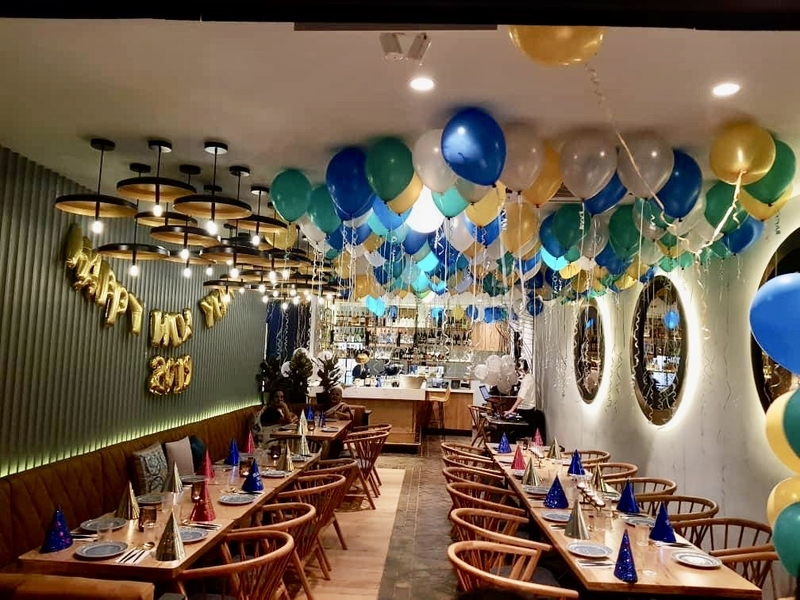 birthday decoration with blue white and gold balloons