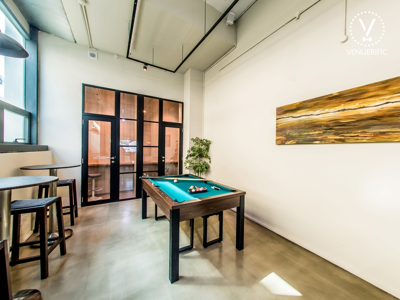 office recharge room with glass door with black frame and pool table