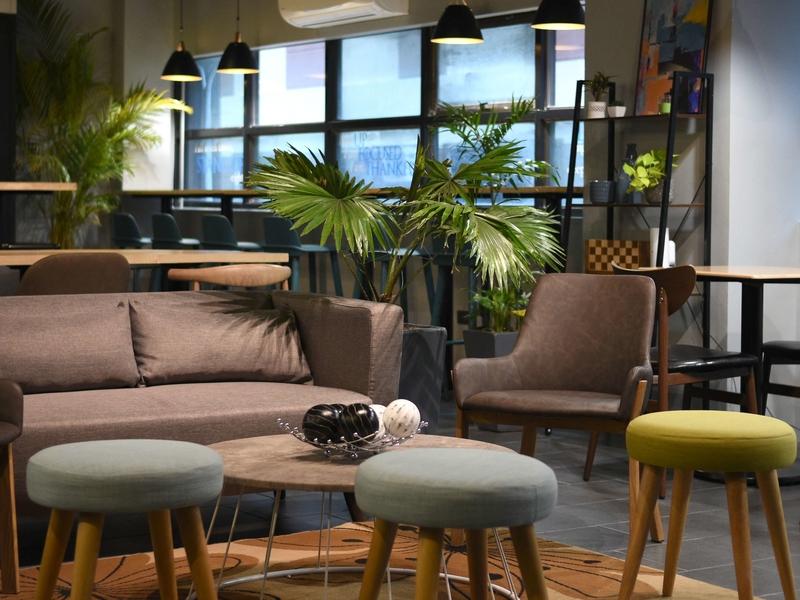 lounge area; sofa and stools