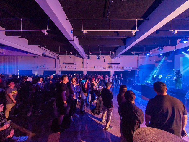 product launch celebration with stage and lighting