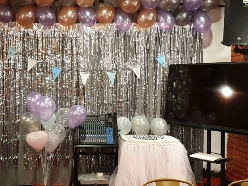 silver theme decoration of baby shower event