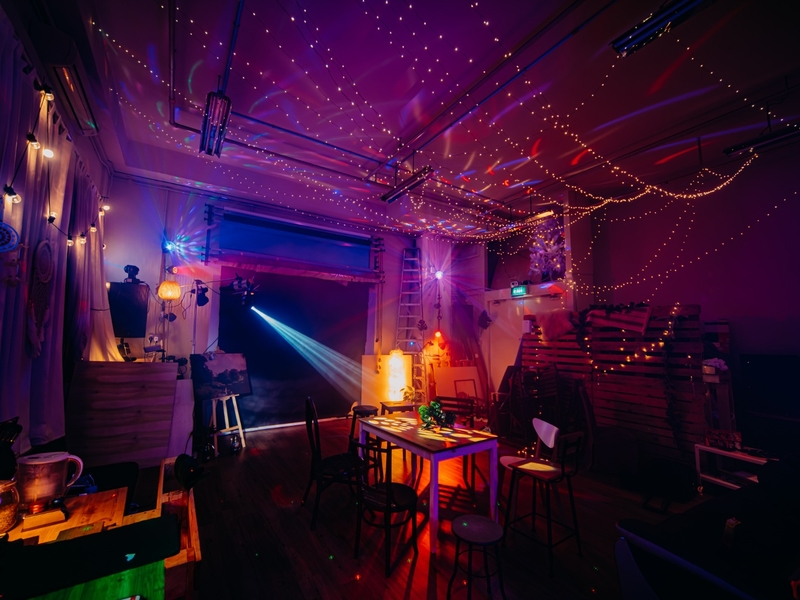 singapore event venue with colourful lights and studio property