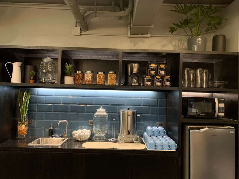 pantry area; fridge and sink
