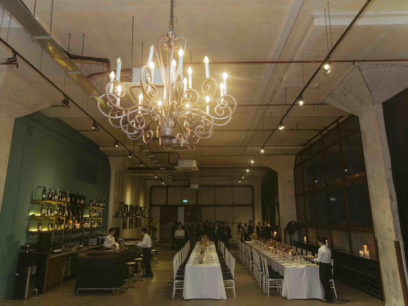 private intimate party setting in industrial event space