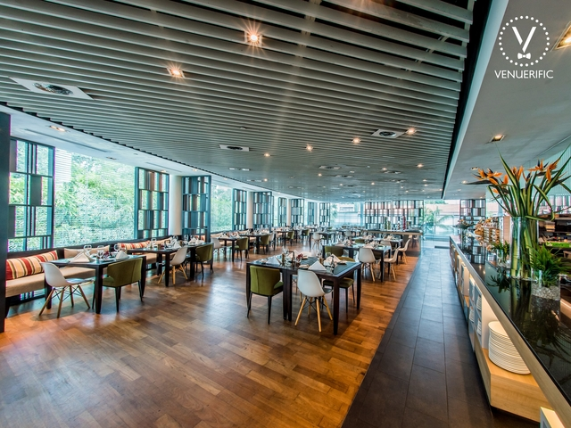 hotel restaurant with various buffet food options