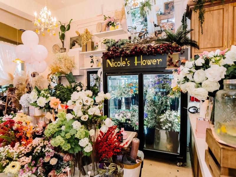 florist corner at the entrance of the shop