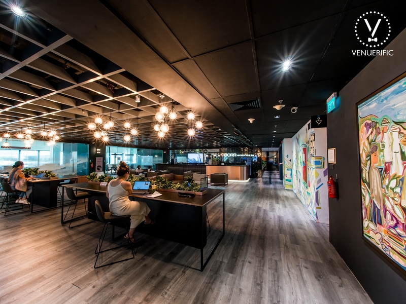 black wooden coworking space area by 80rr fintech hub singapore