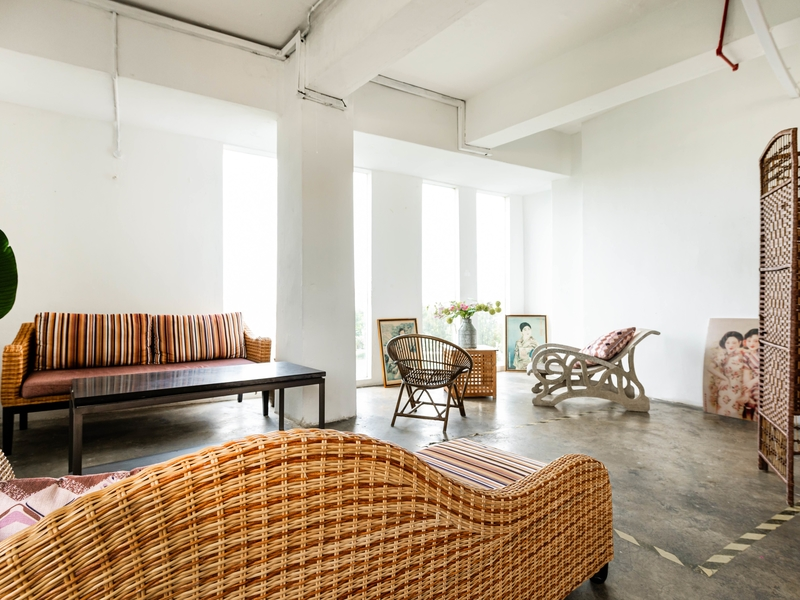 event space with vintage soda and minimalist room