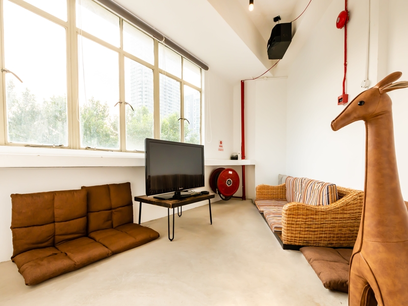 private room with natural light with floor couch and tv