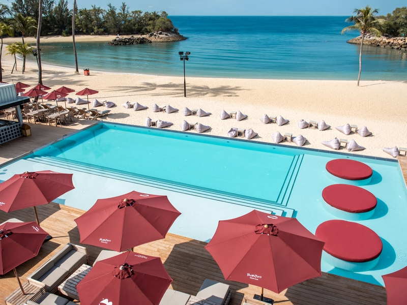 party venue in sentosa singapore with pool and beach access