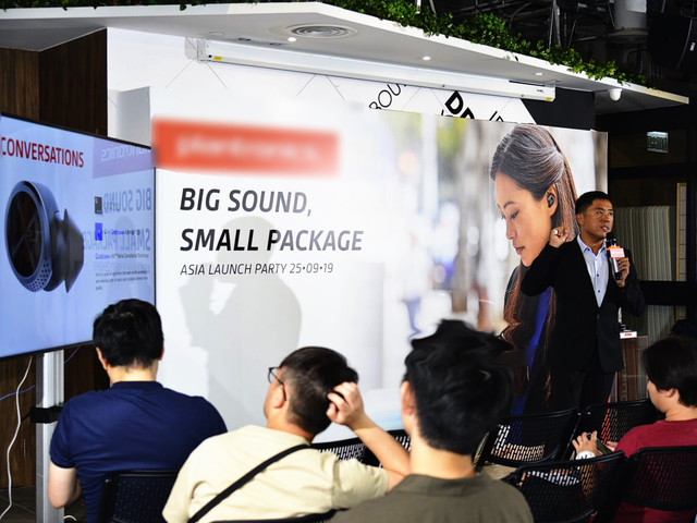 product launch event completed with backdrop and standing tv screen
