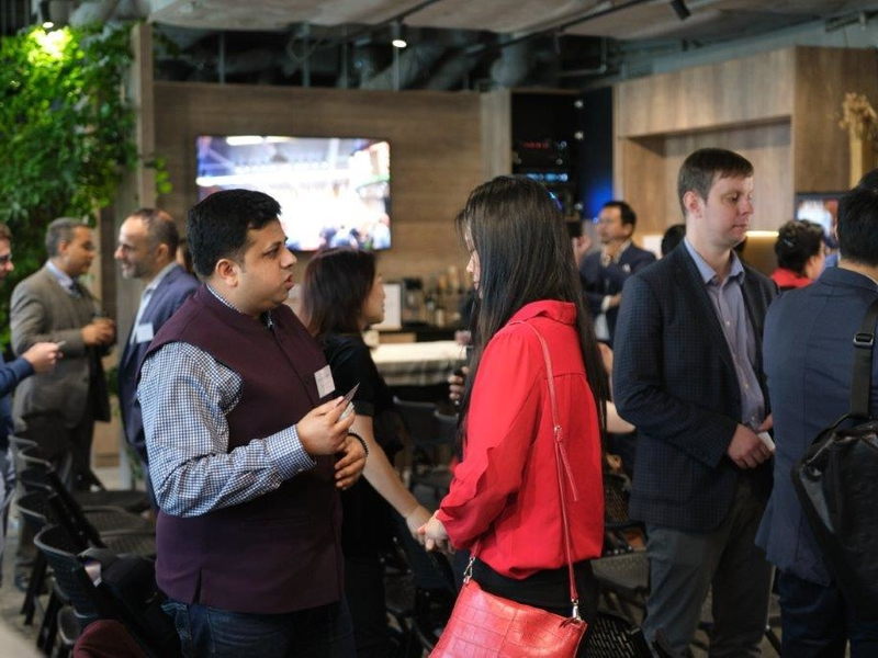 people are doing networking at product launch event