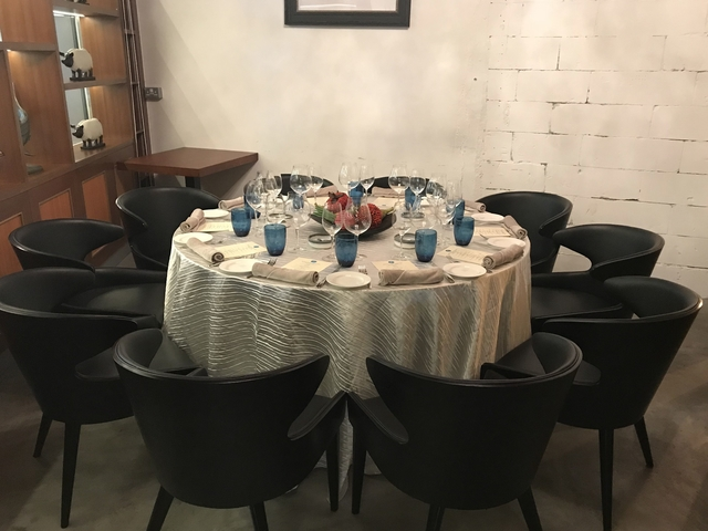 round table set up for family dinner