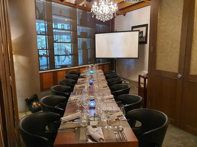 restaurant with small private room for dining with screen projector
