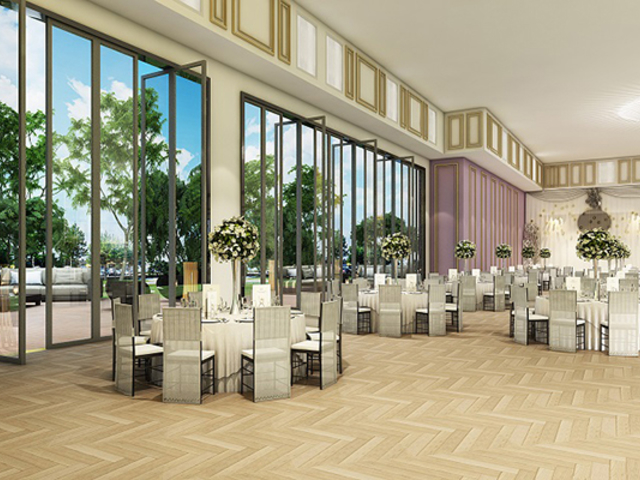 function room with floor to ceiling window which allow natural light